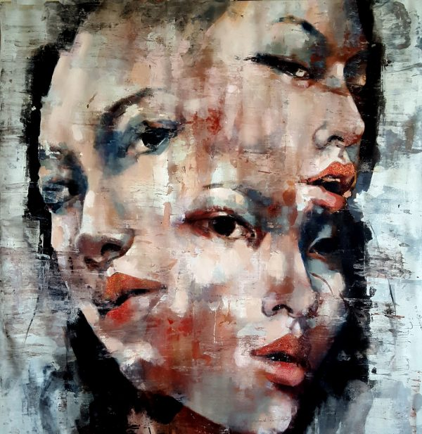 2-21-19 Three faced, oil on canvas, 120x120cm