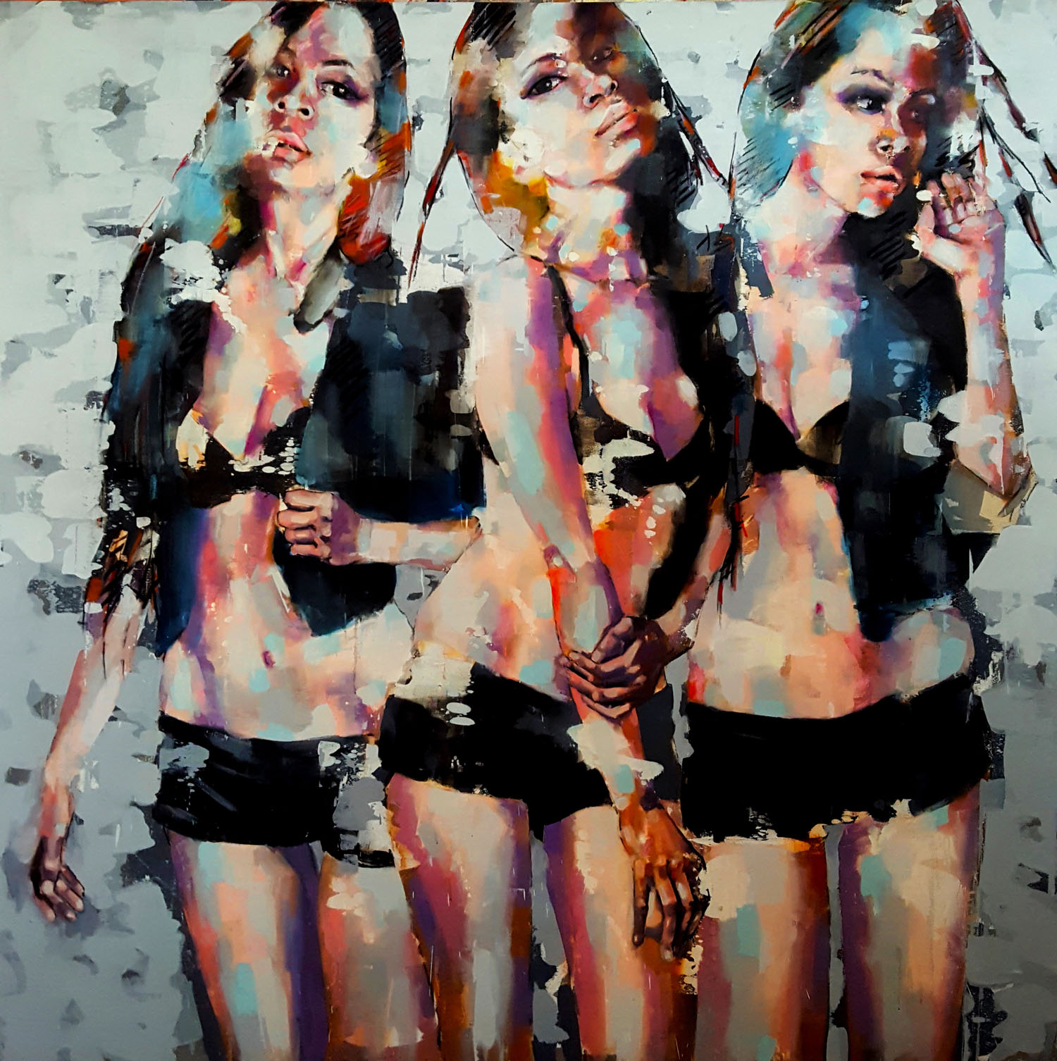 2-15-17 three figures (Sara) oil on canvas, 150x150cm