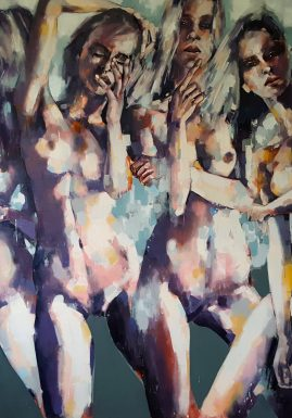 5-22-17 four figures, oil on canvas, 180x150cm