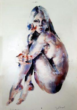 6-10-17 figure, mixed media on paper, 56x38cm