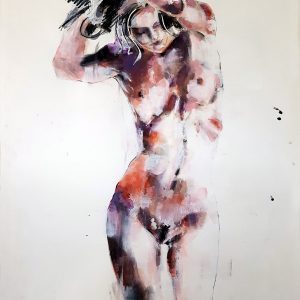 6-20-17 standing figure, mixed media on paper, 56x38cm