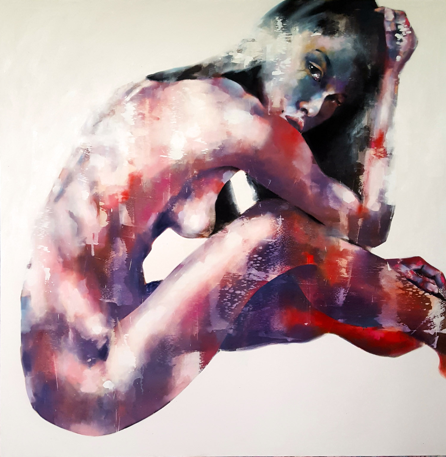 8-18-17 figure with red, oil on canvas, 150x150cm