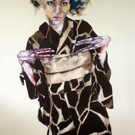 9-15-17 geisha study with schiele hands, oil on canvas, 146x120cm