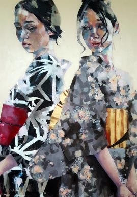 9-18-17 double geisha study, oil on canvas, 150x120cm