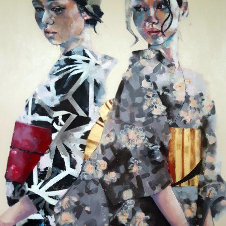 9-18-17 double geisha study, oil on canvas, 150x120cm