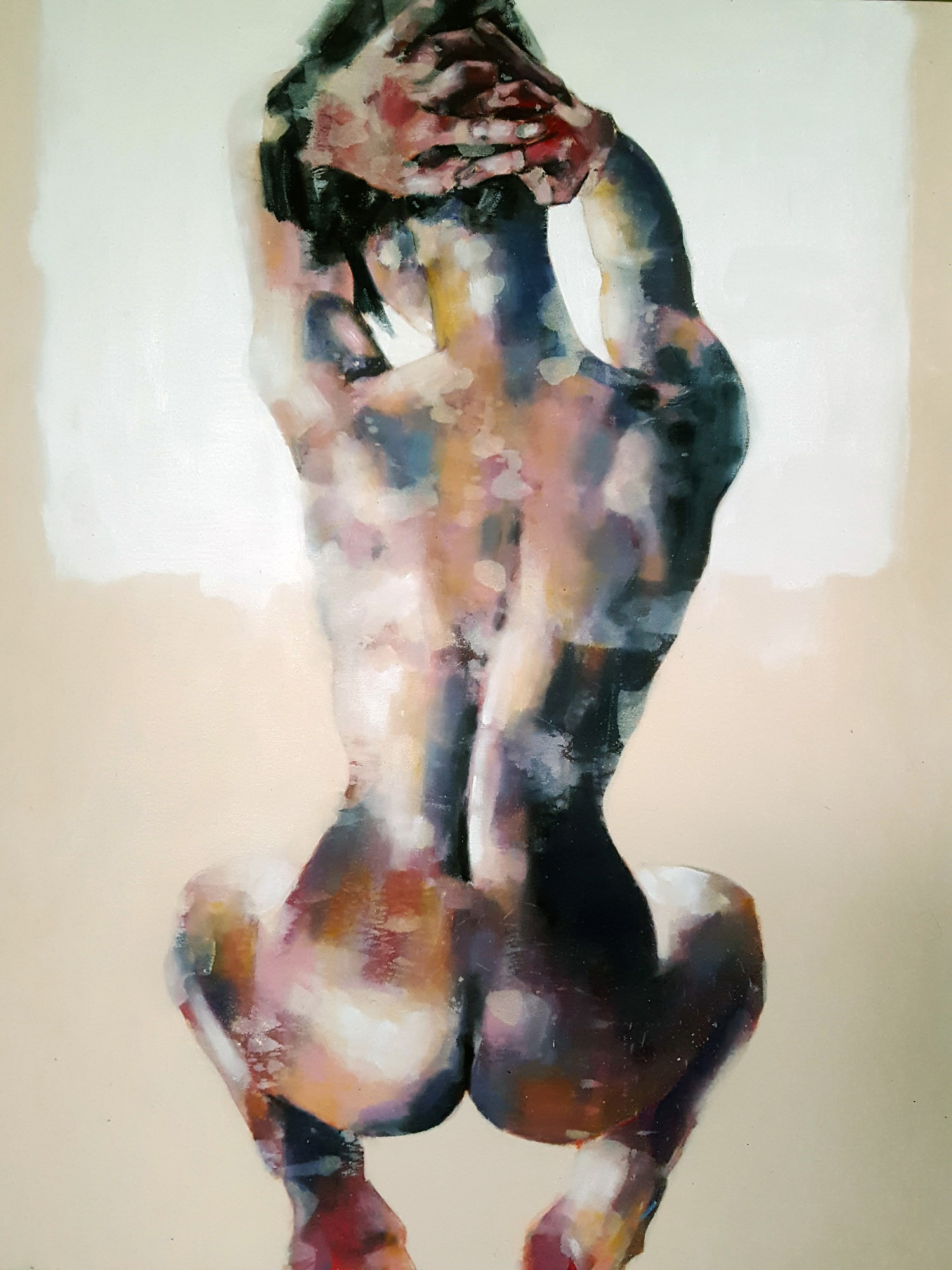 9-5-17 back study with hands, oil on canvas, 90x70cm