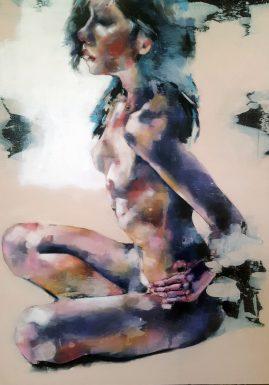 9-6-17 seated figure, oil on canvas, 90x70cm