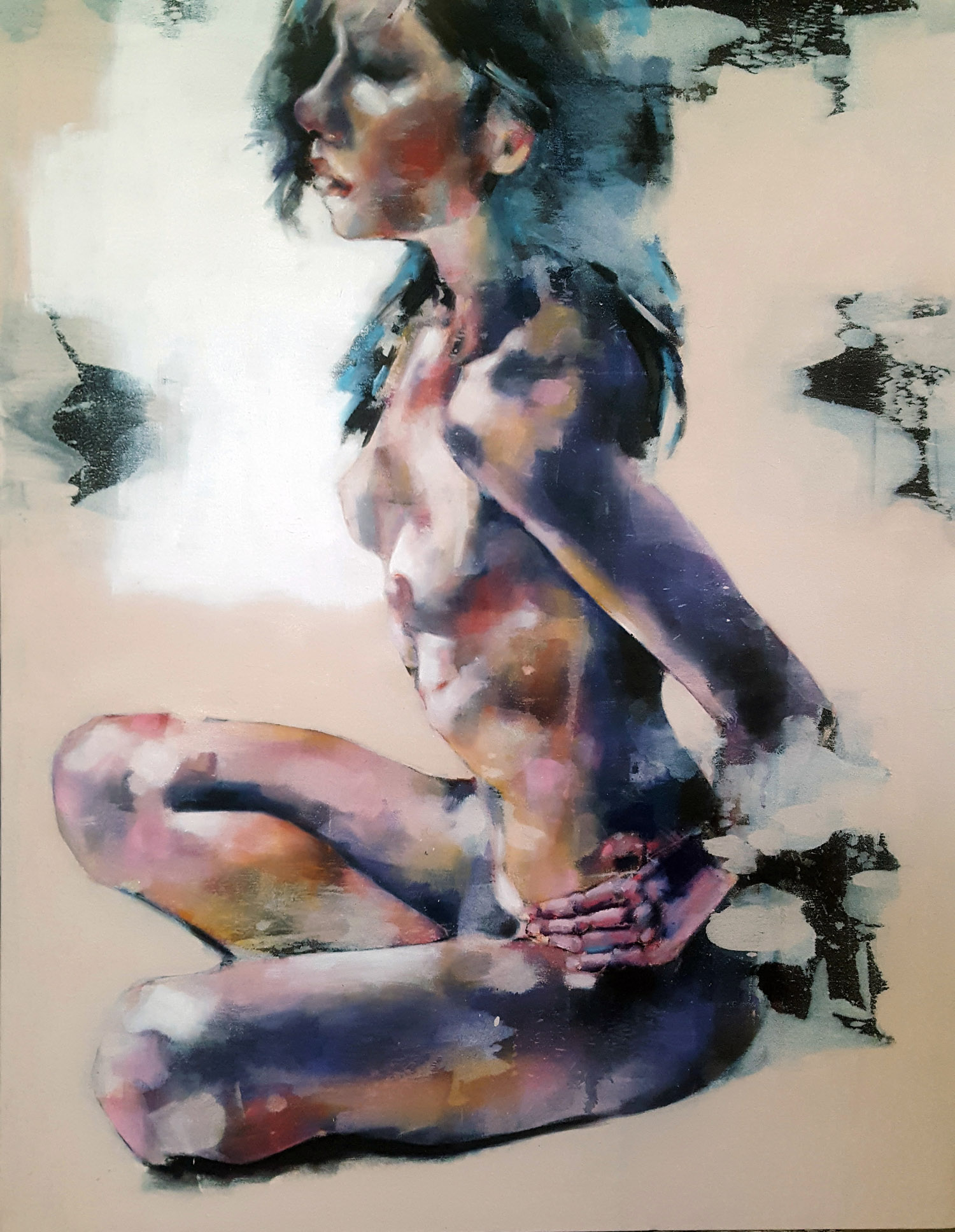 9-6-17 seated figure, oil on canvas, 90x70cm