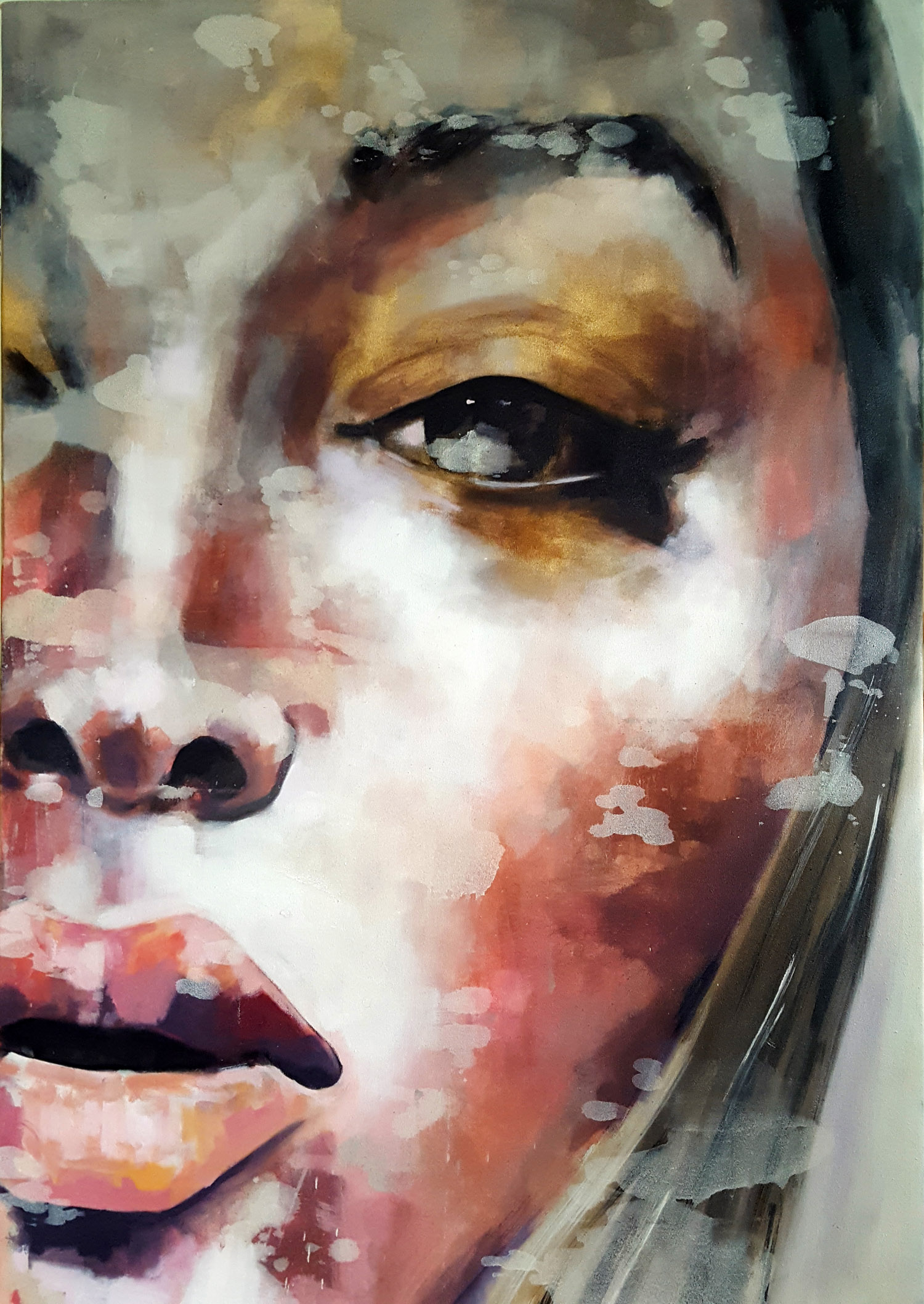 10-1-17 gold eye makeup, oil on canvas, 100x70cm