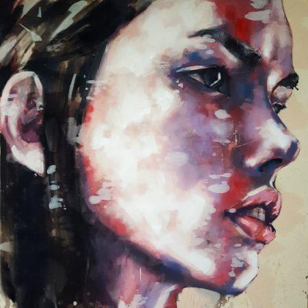10-2-17 head study, oil on canvas, 120x120cm