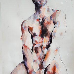 11-12-17 figure, mixedmedia on paper, 56x38cm