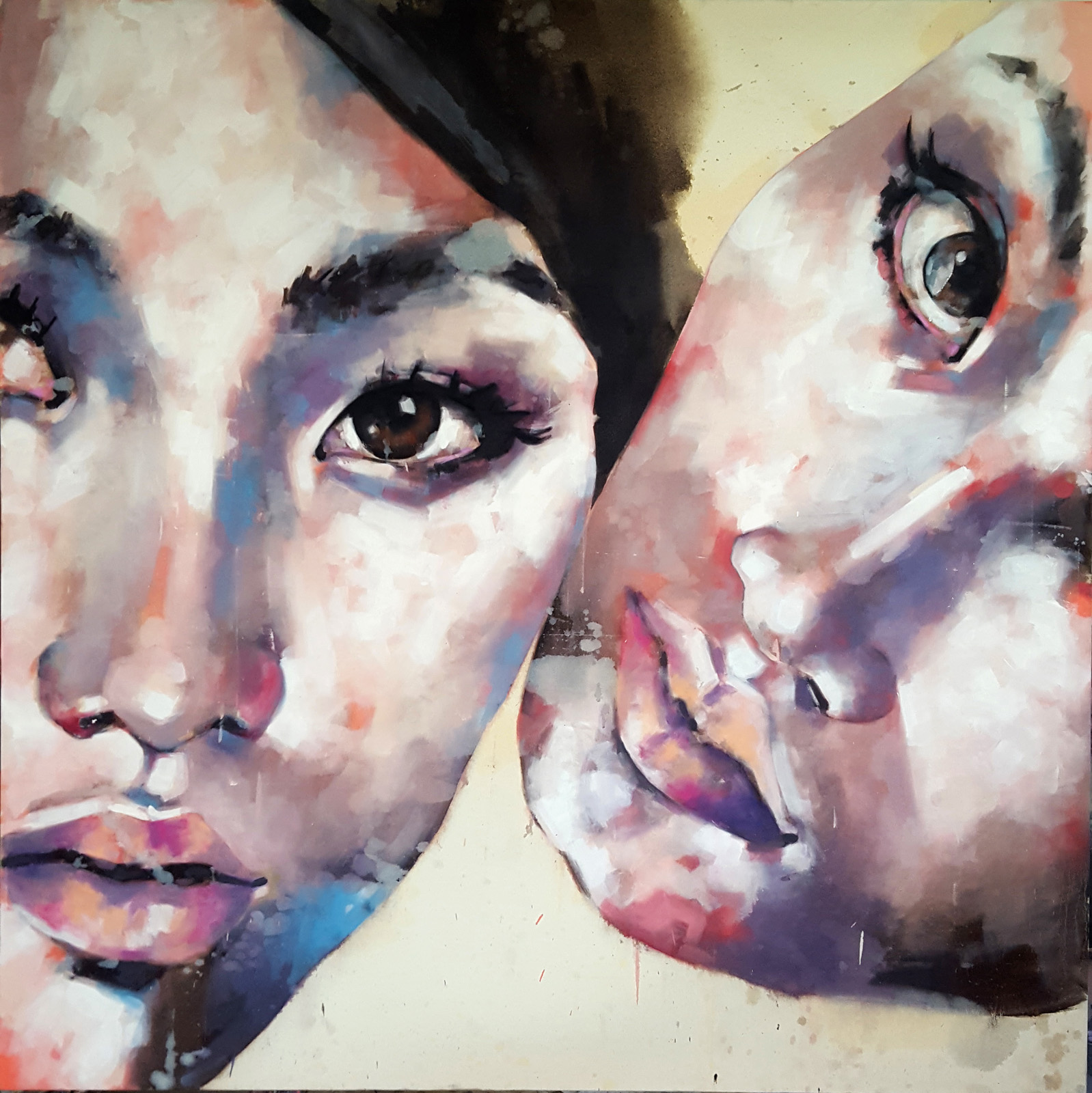 11-18-17 double portrait study, oil on canvas, 150x150cm