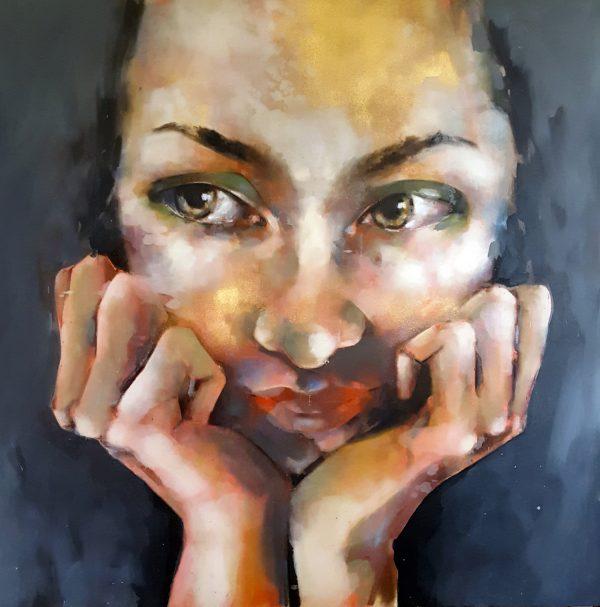 12-10-18 head, oil on canvas, 120x120cm