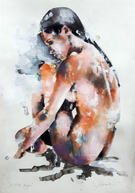 2-12-18 figure, mixedmedia on paper, 56x38cm