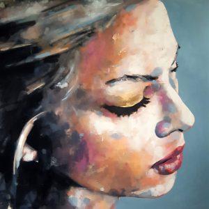 2-25-18 head study, oil on canvas, 120x120cm