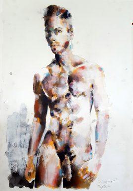 3-7-18 figure, mixedmedia on paper, 56x38cm