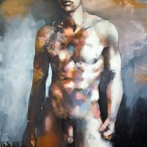 10-28-18 standing male figure, oil on canvas, 100x80cm