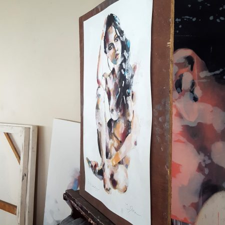 5-1-18 seated figure, mixedmedia on paper, 56x38cm