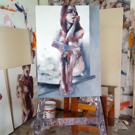 4-1-18 figure study, oil on canvas, 100x70cm