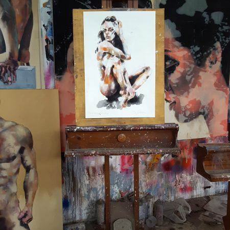 5-21-18 figure with orange, mixedmedia on paper, 56x38cm