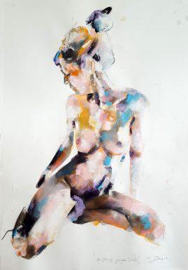 4-29-18 figure study, mixedmedia on paper, 56x38cm