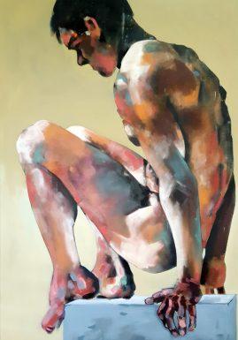 5-18-18 male figure, oil on canvas, 100x70cm