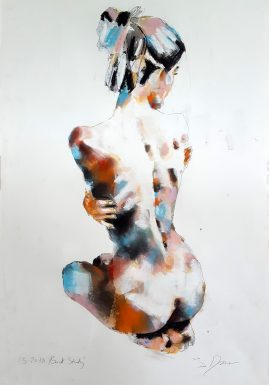 5-20-18 back study, mixedmedia on paper, 56x38cm