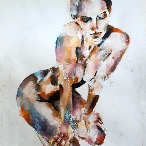 5-22-18 figure, mixedmedia on paper, 56x38cm