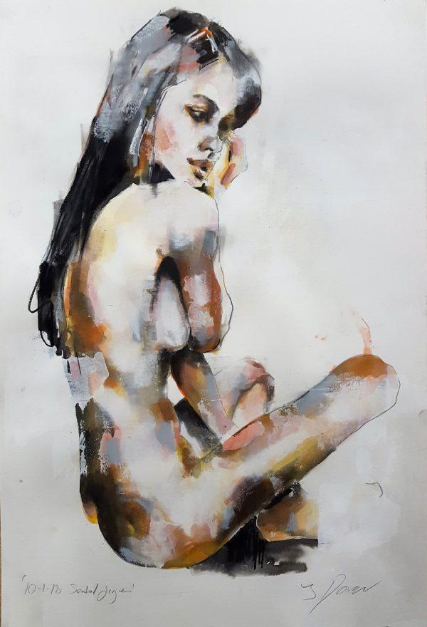 10-1-18 seated figure, mixedmedia on paper, 56x38cm