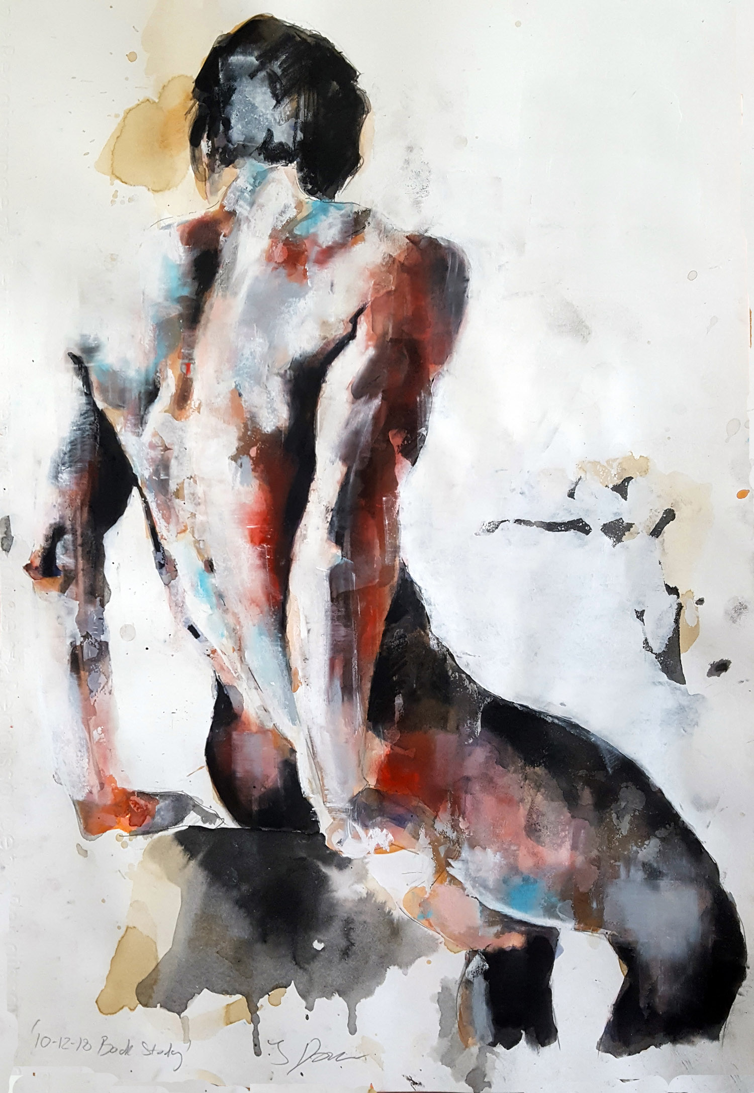 10-12-18 back study, mixedmedia on paper, 56x38cm