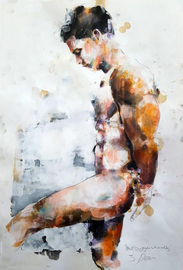 11-16-18 figure with raised leg, mixedmedia on paper, 56x38cm