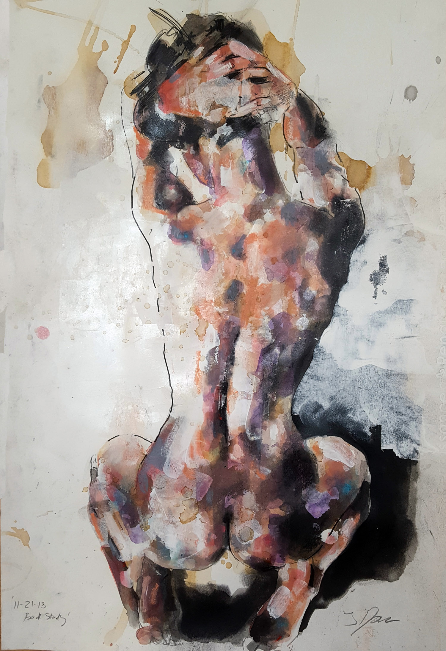 11-21-18 back study, mixedmedia on paper, 56x38cm