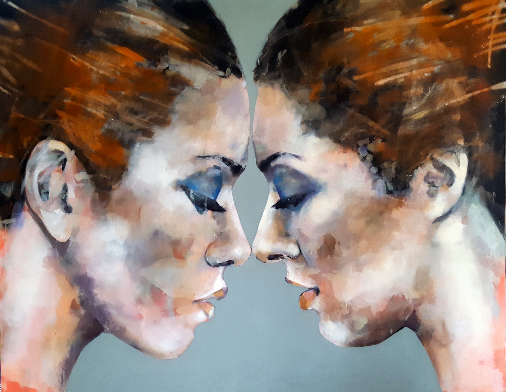 11-22-18 double head study, oil on canvas, 146x120cm
