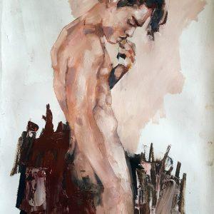 12-18-18 figure, oil on paper, 56x38cm