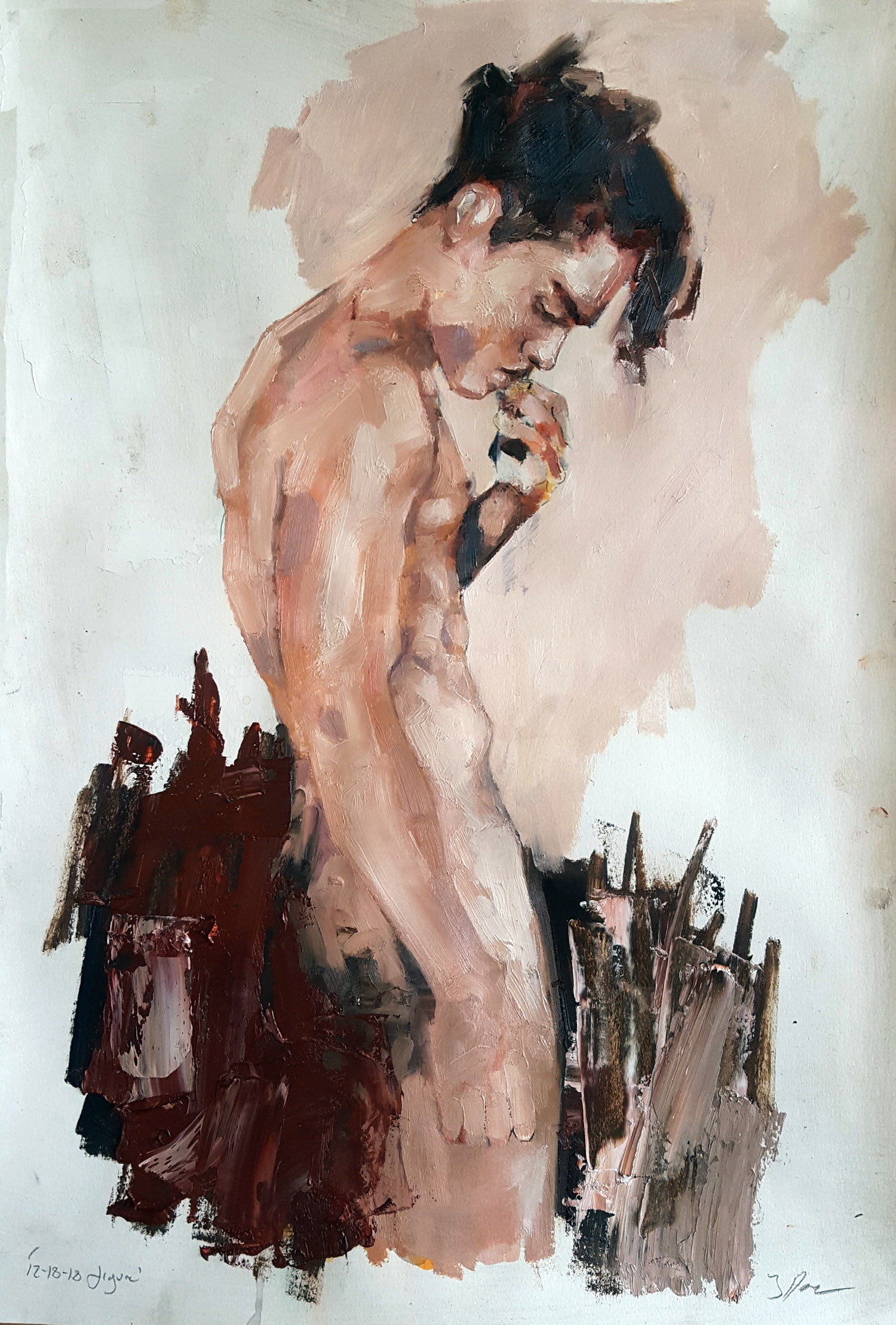 12-18-18 figure, oil on paper, 56x38cm