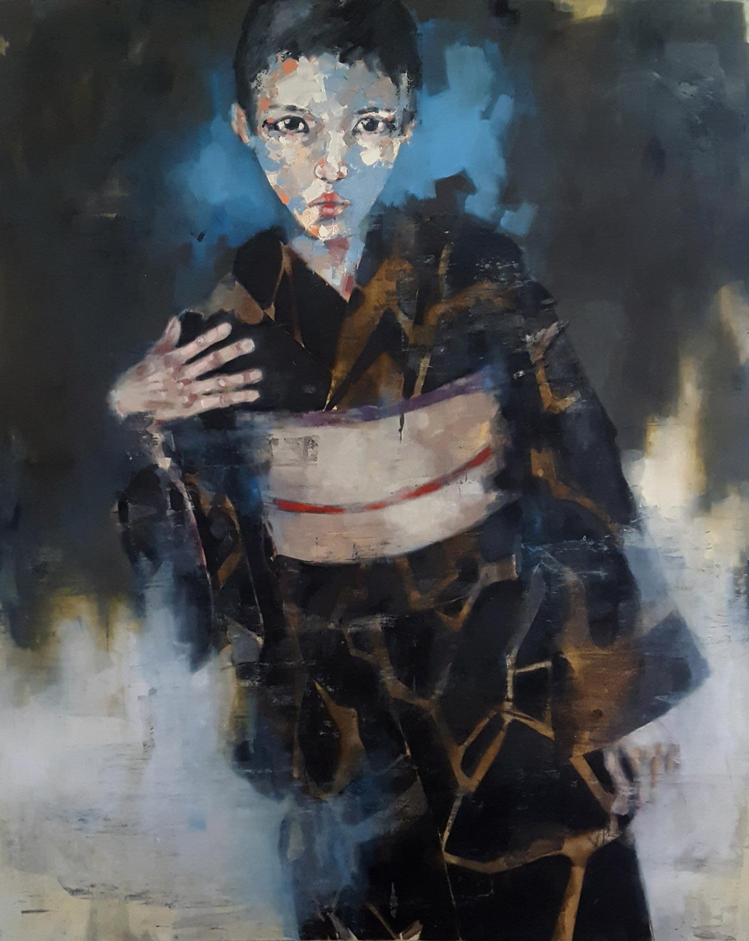 figure in black kimono 5-10-19, oil on canvas, 150x120cm