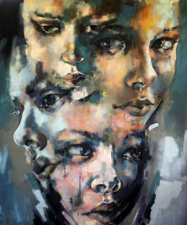 Heads 6-10-19, oil on canvas, 180x150cm
