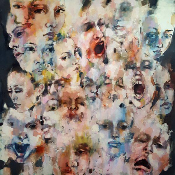 no dialogue 10-16-19, oil on canvas, 120x120cm